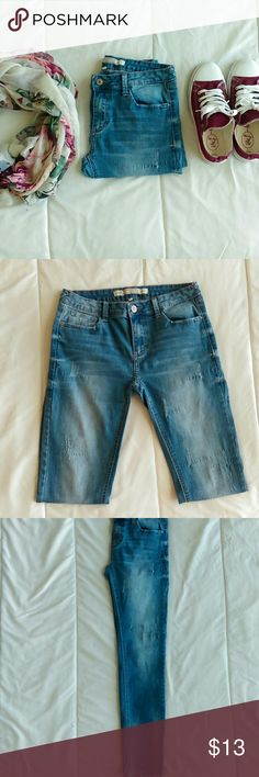 Midrise denim Cute long denim jeans that are meant to have that distressed look. They don't have any holes in them they are just made to have that torn look. They are size 11 in juniors but I think they fit like 8's. Only worn a few times. Papaya Jeans Skinny