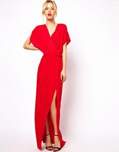 Mango | Mango 70's Wrap Front Maxi Dress at ASOS