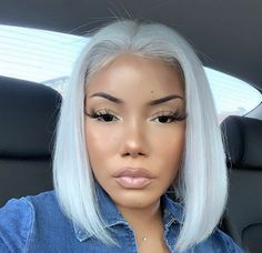 Lace Frontal Gray Wig Black Girl Bob Ross Wig Luna Short Wigs Fusion B – damsontal Grey Bob Hairstyles, Black Ponytail Hairstyles, Wig Hairstyles, Straight Hairstyles, Hairstyle Ideas, Hair Ideas, Beautiful Hairstyles, Natural Hairstyles, Curly Brazilian Weave