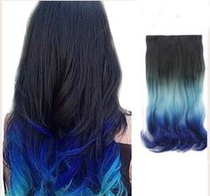 Get this funky colored Ombre' trendy look with our easy one piece clip in hair extensions! The material of this hair is synthetic but it looks so flawless and human-like, people will think you dyed yo
