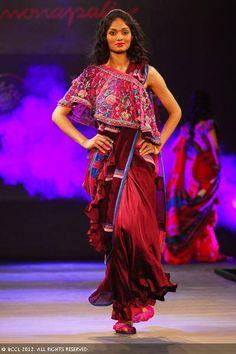 Zeenat Aman walks the ramp for designer Monapali during the Jaipur International Fashion Week 2012