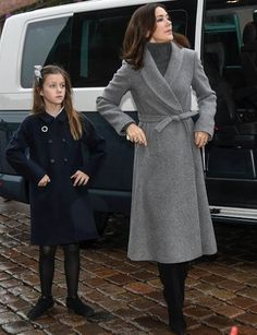 Crown Princess Mary of Denmark with her mini-me daughter, Princess Isabella.  Christmas 2016