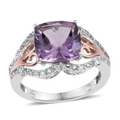 Rose De France Amethyst (Cush 5.25 Ct), White Topaz Ring in 14K RG and Platinum Overlay Sterling Silver Nickel Free (Size 8.0) TGW 6.000 cts.