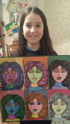 Self portraits,  photocopied and coloured using different mediums,  Andy Warhol inspired.