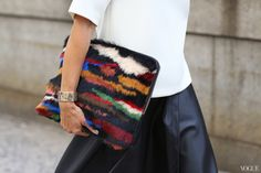 Street Style shots by Phil Oh. NYFW SS 2014 #bag #fur