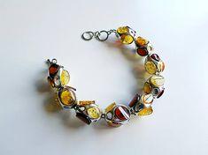 Multi Stone Link Bracelet Link Bracelet For Her Baltic Amber Amber Ring, Amber Bracelet, Amber Jewelry, Stone Bracelet, Stone Earrings, Stone Necklace, Silver Bracelets, Link Bracelets, Silver Earrings