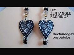 Jewelry making, paper beads,  ZENTANGLE EARRINGS