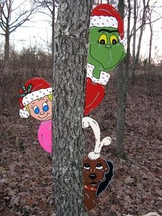 Grinch Max and Cindy Lou Who Tree Peeker Peekers Christmas Yard Art Decoration in Collectibles, Holiday & Seasonal, Christmas: Current Whoville Christmas, Christmas Yard Art, Grinch Stole Christmas, Christmas Wood, Christmas Images, Christmas Holidays, Christmas Ideas, Christmas Stuff, Merry Christmas