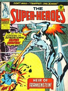 Marvel UK, The Super-Heroes #9, Silver Surfer vs Frankenstein