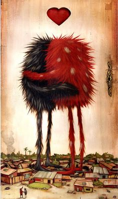 Aww, monster love!  Wonderful illustration of monsters hugging above a village.  Mateo Dineen