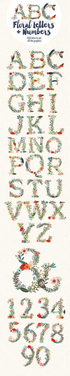 Floral Alphabet II by Mia Charro on @creativemarket