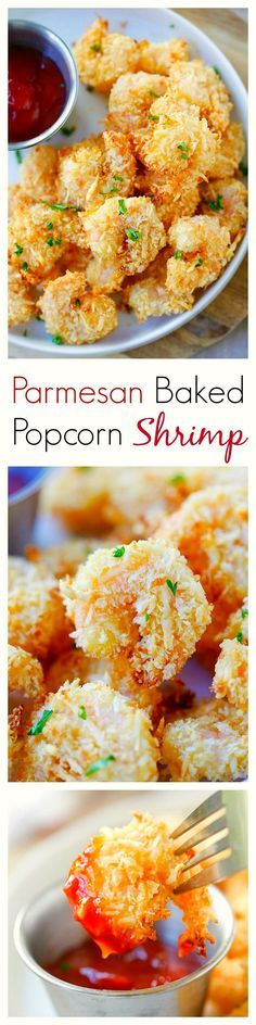 Parmesan Baked Popcorn Shrimp – Easiest and crispiest popcorn shrimp with no deep frying. Easy, healthy, super yummy