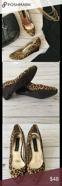 Steven by Steve Madden leopard calf hair wedges Chic little wedge heels with just right 2 inch heel. Leather upper. Gently loved, only worn a couple times, excellent condition. Great way to jazz up plain leggings, skinny jeans or a skirt. Style: Bouco1 Steve Madden Shoes Wedges