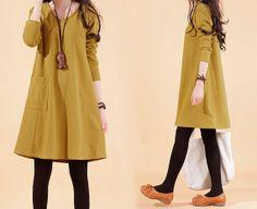 Yellow  vintage cotton sweater dress large size long women spring autumn winter dress plus size cotton blouse tops on Etsy, $62.90