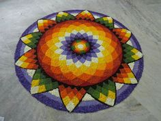 Rangoli Designs Flower, Flower Rangoli, Kolam Designs, Onam Pookalam Design, Rangoli Colours, Rainbow Colors, Christmas Tree, Holiday Decor, Floral