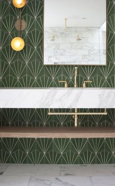 marble bathroom with green statement wall