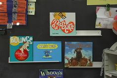 Black backdrops for a bulletin board, with white gutters, really emphasize book covers. Two or three of these in an odd corner space is a great way to make use of small or limited space.