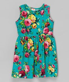 Look what I found on #zulily! Teal Floral Dress - Toddler & Girls by Solo La Fe #zulilyfinds