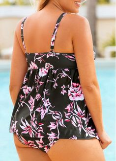 f87e6a8757447 Plus Flower Print Open Back Swimwear Top and Panty | modlily.com - USD  $29.76