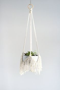 Macrame plant hangers are the perfect way to display your plant or succulent adding a fun modern-bohemian feel to your home. > Give it as a gift, or treat yourself!) DETAILS > Made with cotton rope, hung from a 2 Macrame Wall Hanging Patterns, Macrame Patterns, Macrame Plant Holder, Plant Holders, Modern Bohemian Decor, Pot Hanger, Plant Hanger Diy, Macrame Design, Hanging Plants