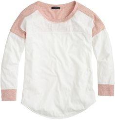 Colorblock T-Shirt Long Sleeve Mauve White Womens L
