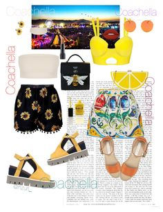 """""""Coachella"""" by aamiras on Polyvore featuring Dolce&Gabbana, Strategia, See by Chloé, Jessica McClintock, Summer and Silver, Lauren B. Beauty, Lime Crime and Bite"""