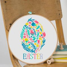 Modern Cross stitch pattern Easter egg Instant PDF Download