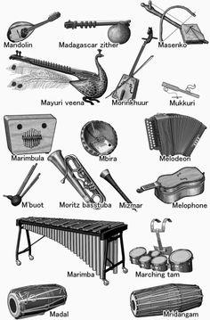 M ... world musical instruments.nome di strumenti musicali.Nom d'instruments de musique