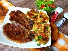 Šťavnatá pečená krkovička na pive a horčici a chrumkavé americké pučené zemiaky Garlic Butter, Steak, Potatoes, Dinner, Food, Recipe, Red Peppers, Dining, Potato