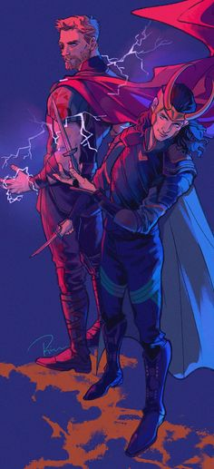 #Thor and #Loki. Artwork by iron-rion.tumblr
