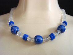 Vintage Periwinkle Blue Glass & Crystal Bead Choker by JoysShop, $13.95