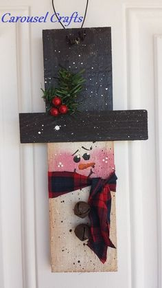 Wood craft door hanging cute snowman