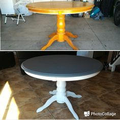 DIY: 2 toned round table - refurbished