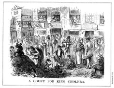 'A Court for King Cholera', 1852. A scene typical of the crowded, unsanitary conditions in London slums. Cholera first appeared in Britain in 1831, and outbreaks occurred regularly in London in the mid 19th century. Cartoon from Punch. (London, 25 September 1852).  (Photo by Ann Ronan Pictures/Print Collector/Getty Images)