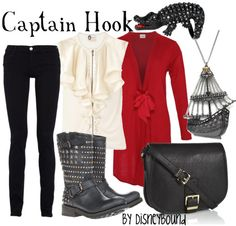 """I ♥ ♥ ♥ this Captain Hook from """"Peter Pan"""" inspired Disneybound!! The boots and the necklace are to die for, and the ruffles on the tops combined with the skinny jeans are a lovely modern day take on the fashionable pirate captain from Neverland!! ♥"""