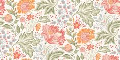 Ava Summer (400-01) - Sandberg Wallpapers - A flamboyant floral design with intricately detailed flowers and leaves. Shown in the summer bright colourway. Non-woven paste the wall product. Please request a sample for true colour match.