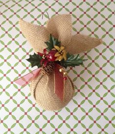 How to Make a Burlap Flower Christmas Ornament *Video Tutor Burlap Christmas Ornaments, Christmas Swags, Handmade Christmas Decorations, Christmas Mood, Christmas Crafts For Kids, Xmas Crafts, Homemade Christmas, Xmas Decorations, Elegant Christmas