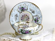 Iridescent Tea Cup Teacup and Reticulated by TheVintageTeacup #pottiteam #thevintageteacup