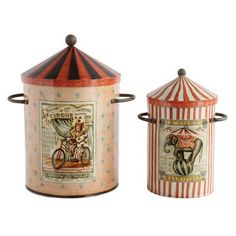 Creative Co-Op Collected Notions 2 Piece Round Tin Storage Bin with Lid Set