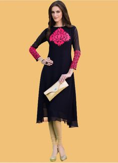 Latest Black Georgette Embroidered Work Kurti