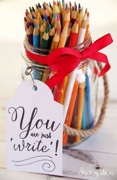 "Back to school teacher gift idea: free printable ""You are just write"" tag. #backtoschool #teacher skiptomylou.org"