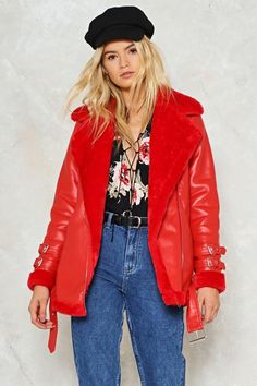 nastygal Sooner or Aviator Vegan Leather Moto Jacket | vegan fashion | vegan jacket | red moto Jacket | vegan clothes | #ad