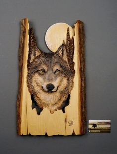 Wolf Carved on Wood Wood Carving with Bark Hand Made Gift Wall Hanging for the Wolves lovers Rustic OOAK Gift for a Hunter Cabin Deco Wood Burning Crafts, Wood Burning Art, Wood Crafts, Wood Carving Patterns, Carving Wood, Linden Wood, Wood Sculpture, Tree Art, Pyrography