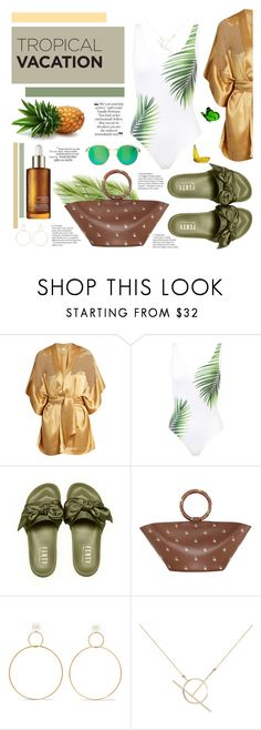 """""""Tropical"""" by karolinapl ❤ liked on Polyvore featuring Carine Gilson, ONIA, The Row, Natasha Schweitzer, A Weathered Penny, Wildfox and SCARLETT"""