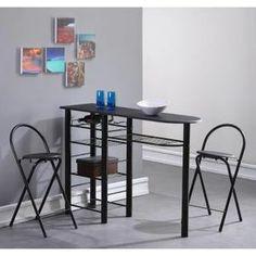 TABLE A MANGER COMPLET FIRST Ensemble repas coloris noir 3 pièces 1 table