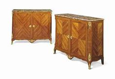 A PAIR OF LOUIS XV ORMOLU-MOUNTED KINGWOOD-INLAID TULIPWOOD MEUBLES DAPPUI BY LEONARD BOUDIN, CIRCA 1755 Each with later breche dAlep marble top above a pair of doors, on cabriole sabot feet, each stamped L.BOUDIN to top 36¼ in. (92 cm.) high, 43½ in. (110.5 cm.) wide, 16½ in. (42 cm.) deep (2)