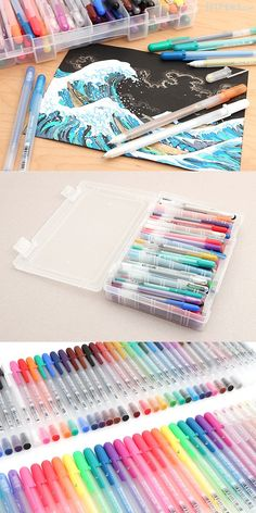 Feast your eyes on this bonanza of Sakura Gelly Roll gel ink pens. This boxed collection of 74 pens includes all colors and varieties that existed at the time the collection was created. It's a wonderful set for anyone who beams at the sight of colorful, sparkly, and luminous pens.