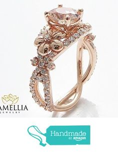 Unique Peach Pink Morganite Engagement Ring 14K Rose Gold Flower Design Ring Art Deco Styled Ring from Camellia-Jewelry