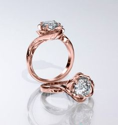 luvia rose gold flower engagement ring