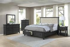 "4 pc House of hampton smedley sandy espresso finish wood beige linen queen bed set. This set includes the Queen bed , Nightstand, Dresser, Mirror . Bed measures 86"" x 69"" x 59"" H. Nightstand measures 24"" x 17"" x 24"" H. Dresser measures 58"" x 17"" x 37"" H. Mirror measures 36"" x 2"" x 36"" H. Some assembly required. Also available in Cal king and eastern king. Bedroom Furniture Stores, Modern Bedroom Furniture, Queen Bedding Sets, Queen Beds, Bed Storage, Storage Drawers, Kids Bedroom Sets, Panel Bed, Discount Furniture"